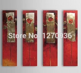 Wholesale Chinese traditional beautiful lady barrier red flowers in the gold canvas handmade oil painting On Canvas