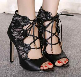 Women Lace sandals Sexy heels Summer Sandals Gladiator Shoes Sexy high heels Black Lace up Cut-out Pump Peep toe Shoes