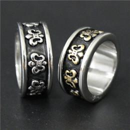 Size 7-13 Mens 316L Stainless Steel Jewelry Silver Golden Fleur De Lis ring Good Quality Band New Fleur De Lis Biker Ring