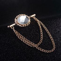 High-grade crystal brooch tassels long chain collar pin brooch pin button pin shirt open buckle shawl collar button jewelry wholesale