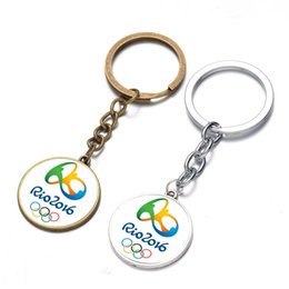 Wholesale Key Rings Brazil Rio Olympic Games big LOGO mark time precious stones key pendant souvenir souvenir promotion