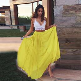 2016 Summer Bohemain Skirts For Women Chiffon Beach Dress Party Skirts For Women Casual Party Dresses Yellow Skirts Long Skirts Maxi Skirts