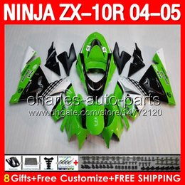 Wholesale 8gifts Body For KAWASAKI NINJA ZX10R ZX R Top Green white black ZX R Factory Green Motorcycle Fairing Kit Bodywork