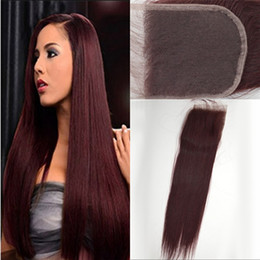 Wholesale 99J Lace Closure Straight A Malaysian Burgundy Human Hair Lace Closure with Baby Hair Fast Delivery