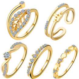 Wholesale Gold Silver Plated Rhinestone Crystal Leaf Crown Knuckle Midi Rings Finger Rings set anillos mujer Ring Set Bague anillos de oro