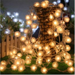 Outdoor Led String Lights 10M100leds Warm White Puffer Ball Christmas Lights Decorative for Indoor Garden Patio Party and Holiday Decoration