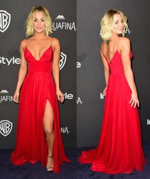 Wholesale Sexy Kaley Cuoco Red Celebrity Dresses Thigh High Slit Spaghetti Strap A Line Christian Siriano Evening Gown The Big Bang Theory