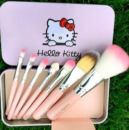 Wholesale Brand Makeup Set Hello Kitty Cosmetic Brush Kit Makeup Brushes Set Pink Black Iron Case Toiletry beauty appliances DHL sets