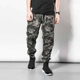 Wholesale-Camo Joggers Mens Camouflage Jogging Pants 2016 New Fashion Waist Drawstring Elastic Waist Free Shipping