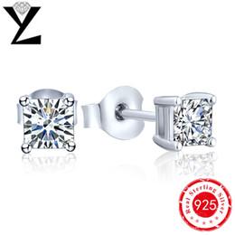 Wholesale 2016 Classic Princess Cut Stud Earrings Rhodiun Plated Silver Cubic Zircon Earrings Fashion Jewelry European Style for Women NE02300B