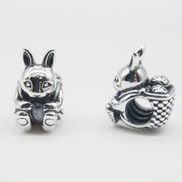 Fits Original Pandora Bracelets & Bangles & Necklaces EASTER BUNNY CHARM DIY Beads Real Solid 925 Sterling Silver Not Plated