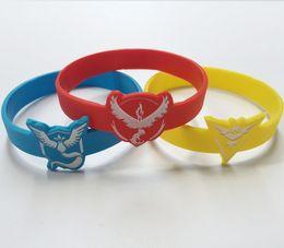 Wholesale Poke Go Silicone Bracelets Pocket Monster Team Wristbands Squirtle Valor Mystic Instinct Logo Bracelets Bangles Anti fatigue Epacket
