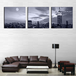 Wholesale 3 Panel Wall Art Painting Nice Night Scene Prints On Canvas City The Picture Decor Oil For Home Modern Decoration Print For Furniture