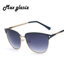 Promotion meilleures lunettes de soleil gros Gros-New 2015 Gold Frame Métal Lens Sunglasses Brown Designer Meilleur Big Box Femme Unisexe Oculos Bycicle sécurité Cheap Gafa De Sol