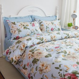 Wholesale Country Style Bedding Sets Cotton Pieces Printing Printed Flowers Floral Pattern Light Blue Pink High Quality