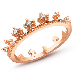 Wholesale New Fashion Flash Drill Crown Ring Jewelry Shiny Elegant Beauty Ring