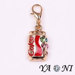 Wholesale Alloy Coke Floating Dangle Charms Rhinestone Dangle Charm Pendant with Lobster Clasp for Floating Glass Locket
