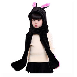 Kids Winter Warm Fleece Rabbit Hood Scarf 3 in 1 Gloves Earflap Hat Animal Long Scarf for Children 5pcs lot
