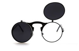 New Vintage Round Metal Sunglasses Designer Eyewear Gold Flash Glass Lens For Mens Womens Mirror Sunglasses Round Unisex Sun Glasses