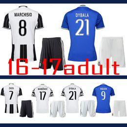Wholesale 2016 Best quality KHEDIRA POGBA DYBALA MORATA MARCHISIO HIGUAIN CUADRADO adult Coat pants kit uniform Juventus Jersey shirt
