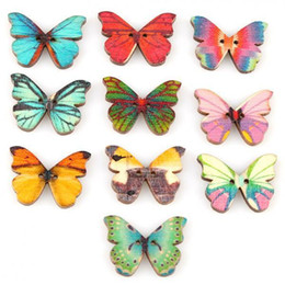 Wholesale 50pcs Buttons Holes Mixed Color Butterfly Shape Wooden Sewing Mend Scrap DIY Buttons