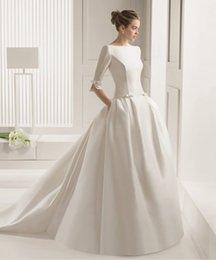 Wholesale Wedding Dresses Vintage White Satin Sweep Train Simple Bridal Wear Plus Size Elegant Online Cheap vestidos de novia