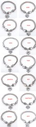 Wholesale Crystal heart love bracelets ancient silver Mom Sister Best Friend Family Menber bracelet wristband band cuffs women Christmas gift