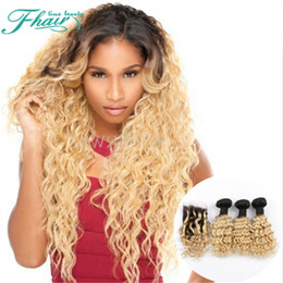 8A Brazilian Hair Deep Curly 3 Bundles With 4*4 Lace Closure 1B 613 Dark Roots Omber Human Hair With Lace Closure