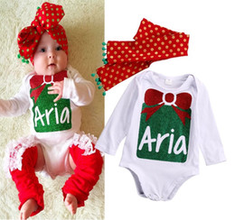 Wholesale newly kids rompers Merry Xmas Newborn Baby Girls Bodysuit Aria Romper cotton Jumpsuit Dot Headband lovely Outfits children fashion top Set