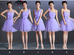 Soft Tulle Short Bridesmaid Dress With Bow Lavender 2016 Knee Length Party Dress Lace Up Real Photo