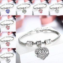 Wholesale 45 types Diamond Heart bracelet crystal family member Mom Daughter Grandma Niece Faith Hope best friend bitches bangle cuff for women