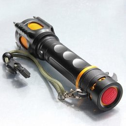 Wholesale In business high quality Tactical flashlights CREE XM L T6 LED Four Attack Heads Audible Alarm Flashlight Set for outdoor gear