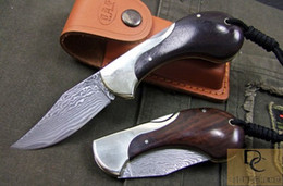 DK043 Snail style folding knife hand made DAMASCUS Blade Copper + Ebony handle High quality with leather sheath