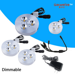 HOT selling 4pcs DC 12v 3W LED Puck Cabinet Light,LED spotlight+35cm connect wire +12v 1a power