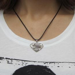 25pcs lot Super Heros Superman Logo Metal Pendant Black Leather Chain Necklace