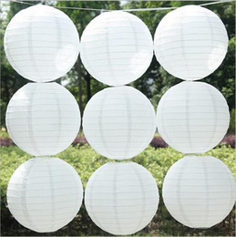 Wholesale 10pcs inch cm Chinese Round White Paper Lanterns lamps for Wedding Party Home Decoration oliday party supplies