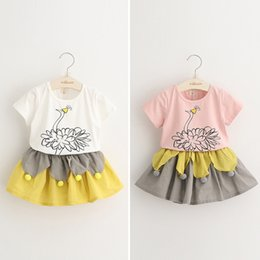 Wholesale Cute Kids Girls Everweekend New Style Sets Print Beautiful Peacock Cotton T shirt Ruffles Cotton Linen Skirt Fashion Suits