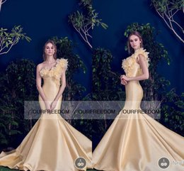 Wholesale 2016 New Fashion Hamda Al Fahim Mermaid Evening Dresses Gold Vintage One Shoulder With D Flora Western Style Formal Occasion Pageant Dress