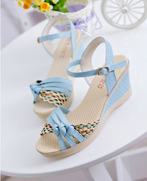 Wholesale-2015 Elevator Summer Shoes Open Toe Wedges High Heels Women Sandals Slippers Slides Platform Shoes Ladies Sandalias
