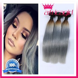 1B Grey Ombre Hair Weaves Brazilian Virgin Human Hair Bundles straight ombre Two Tone silver Grey Hair Extensions 4 bundles deals free ship