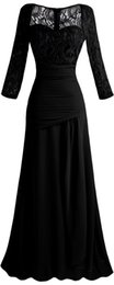 Wholesale Angel fashions New Chiffon Sleeves Lace Pleated Ruffle Long Evening Dress Black