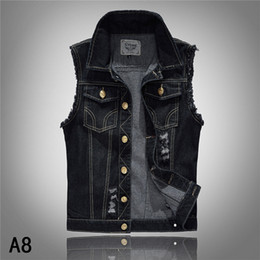 Wholesale Denim Vest Mens Jackets Sleeveless Fashion Washed Jeans Waistcoat Mens Tank Top Cowboy Male Ripped Jacket Plus Size S XL
