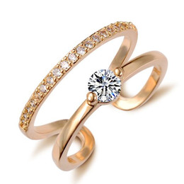 High End Real Gold Fine Jewelry Accessories Round Circle Engagement Bride Finger Annulus Open Adjustable Wedding Bands Rings For Women