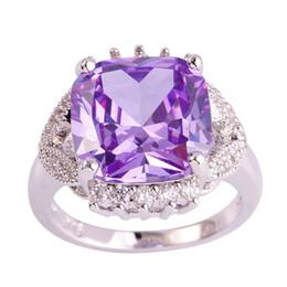 Promotion bijoux de pierres précieuses Bijoux AAA CZ Fashion Lab Lumière Taille Violet Tourmaline Gems blanc 18K plaqué or Bague en argent 7-12Free Livraison en gros