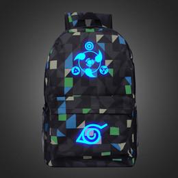New Fashion Luminous Naruto Plaid Backpack Boy Girl Hokage Ninjia School Bag For Teenagers Japanese Anime Daily Laptop Canvas Backpack