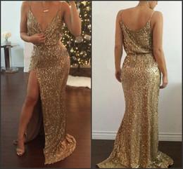 Gold Sequins Prom Dresses Split Side Sexy Back Long Formal Evening Gowns Gorgeous Vestido De Festa Red Carpet Gowns