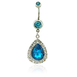 Wholesale Brand New Belly Button Rings 316L Stainless Steel Barbell Dangle Blue Crystal Teardrop Navel Piercing Jewelry