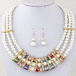 Fashion Pearl Jewelry Sets 18K Gold Plated Wedding Jewelry Set Mulit layer Bridal Crystal Necklace Set Earrings For Women Bijoux