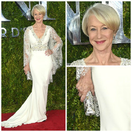 Red Carpet perhiasan berlian Helen Mirren Tony Awards 2016 Evening Dresses Cannes Film Festival Premiere1 Plus Size Celebrity Dress