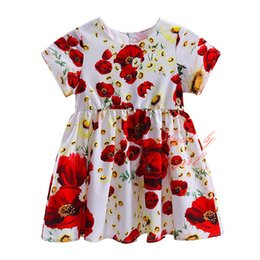 Pettigirl Cute Big Flower Dresses for Infant Baby Fashion Short Sleeve Floral Print Skirts A-line Girls Dresses GD90311-681F
